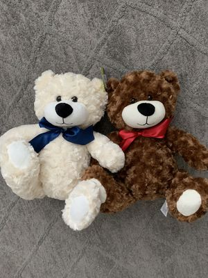Teddy Bear Plush Stuffed Animal Adventure Bow Soft Toy Set of Two 2 for Sale in Portland, OR