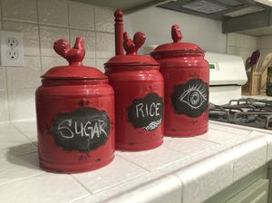 Country Kitchen Canisters Red for Sale in Los Angeles, CA