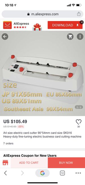 Electric card cutter sk316 for Sale in Diamond Bar, CA