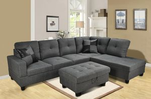Grey Sectional with ottoman and 2 pillows ( new) for Sale in Hayward, CA