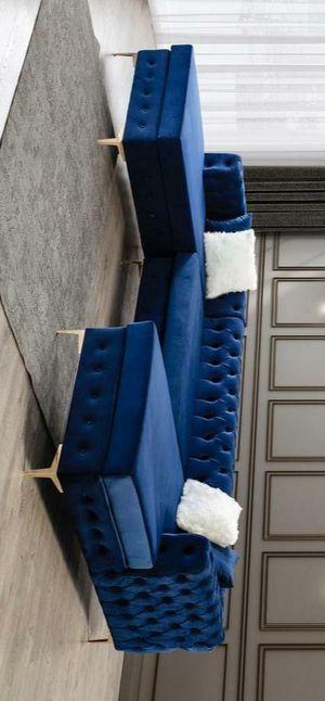 Lydia velvet navy double chaise sectional sofa for Sale in Houston, TX