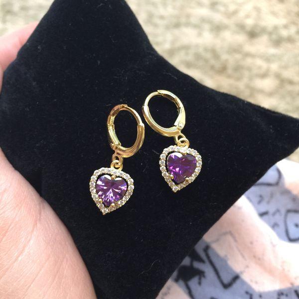 18k gold plated heart love earrings