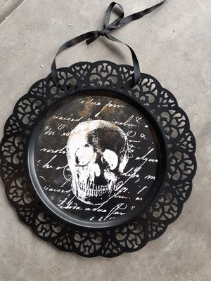 Skull metal hanging halloween art for Sale in Yorkville, IL