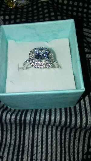 SOLID STERLING SILVER RING W WHITE GOLD FINISH SIZE 7 for Sale in Boston, MA