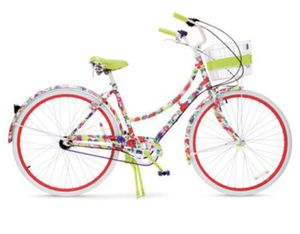 Limited edition Floral wrapped Alice and Olivia bicycle including unopened lock with 30$ and Walmart bike rack worth 50$ for Sale in Semmes, AL