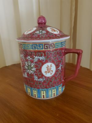 PORCELAIN RED CHINESE COFFEE--TEA MUG. for Sale in Miami, FL