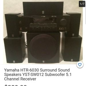 Yamaha 6.1 Sorround Sound Receiver 5 Speakers And 10 Inch Powered Sub for Sale in Glendale, AZ