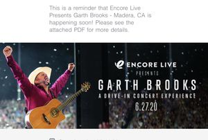 Concert ticket for Sale in Visalia, CA