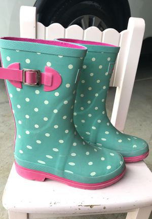 Joules British Style Girl Rain boots polka dots Size 3 with Box for Sale in Rancho Cordova, CA