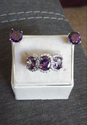 New Amethyst .925 sterling silver ring size 7 and earrings for Sale in Owatonna, MN