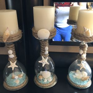 Seashell and Sand Wine Glass Candle Holder Set for Sale in Fort Lauderdale, FL