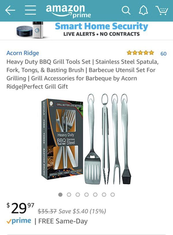 Heavy Duty BBQ Grill Tools Set | Stainless Steel Spatula, Fork, Tongs, & Basting Brush | Barbecue Utensil Set For Grilling | Grill Accessories for Ba