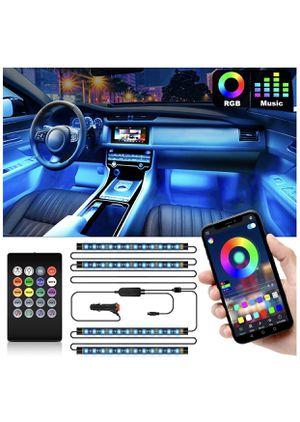 Interior Car Lights, Car LED Strip Lights 2-in-1 Design 4pcs 48 LED Remote and APP Controller Lighting Kits, Waterproof Multi DIY Color Music Car Lig for Sale in El Paso, TX