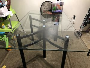Dining Table Glass Top with 4 Chairs for Sale in Salt Lake City, UT