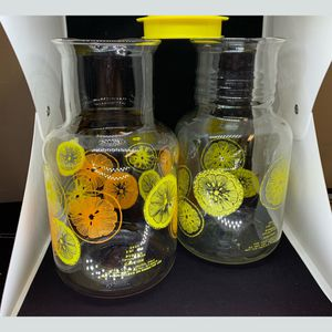 2 Vtg PYREX Lemon Orange Lemonade Tea Pitcher Carafe Glass 2 Liter 2 Qt 3520 for Sale in Honolulu, HI