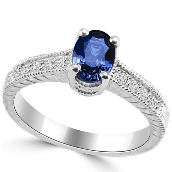 Oval Cut Blue Sapphire With Round Diamond Ring White Gold 14K