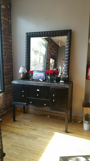 Black wall cabinet and mirror for Sale in Chevy Chase, MD