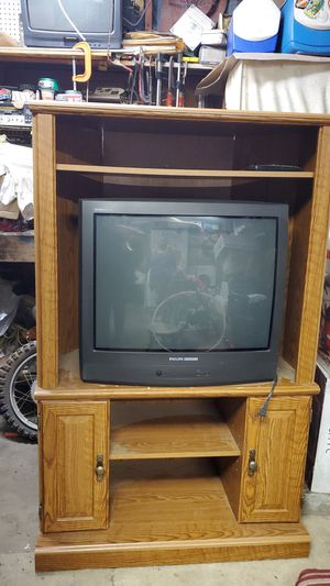 Entertainment center with TV old brand TV but works for Sale in Moreno Valley, CA