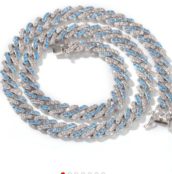 Helloice 8mm Iced Blue&White Two-tone Cuban Link Chain