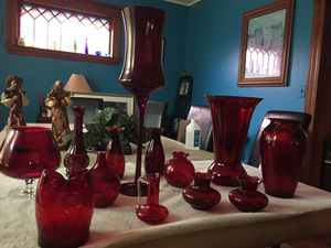 Collection of Ruby Red Glass vases for Sale in Lowell, MA