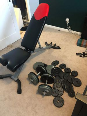 Bowflex Weight Bench and Weights Gym Set for Sale in Alexandria, VA
