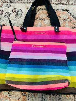 Victoria Secret Large canvas rainbow beach bag tote with accessory bag for Sale in Largo, FL