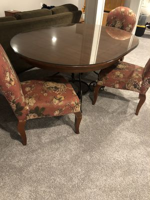 Dining table with glass top and 4 upholstered chairs for Sale in Buffalo, NY