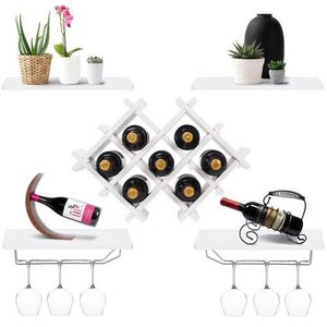 Brand New White Wall Mounted Wine Rack with Storage Shelves and Glass Holder for Sale in Los Angeles, CA
