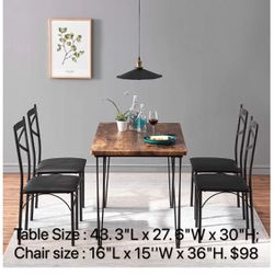 VECELO Rustic Country Set Wooden Table and 4 Chairs with Metal Legs for Breakfast Nook, Kitchen, Dining Room-4 Placemats Included, Black for Sale in Buena Park,  CA