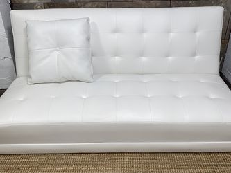 White Faux Leather Reversible Sleeper Sofa & Chaise for Sale in Smyrna,  GA