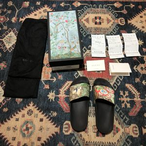 Women Gucci Slides with Receipt Black with Floral Pattern new in box Size G 40 W9 women 9 for Sale in Fort Lauderdale, FL