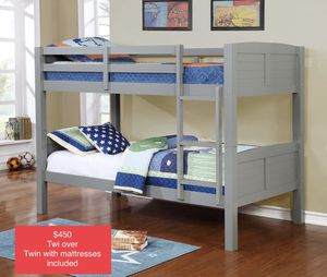 $450 brand new twin/twin bunk beds with mattress for Sale in Los Angeles, CA