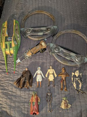 Star Wars Action Figures Lot Ships Weapons Spinmaster for Sale in Tigard, OR