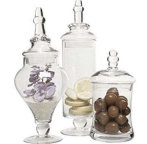 M yGift Designer Clear Glass Apothecary Jars (3 Piece Set) Decorative Weddings Candy Buffet for Sale in Los Angeles, CA