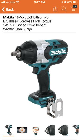 Makita 18-Volt LXT Lithium-Ion Brushless Cordless High Torque 1/2 in. 3-Speed Drive Impact Wrench (Tool-Only) for Sale in Highland, CA