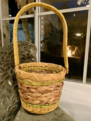 Handwoven Basket With Handle Boho Chic Easter Basket Hanging Plant Basket Easter Decor Sea Grass Wicker Rattan Bamboo Bentwood for Sale in Aliso Viejo, CA