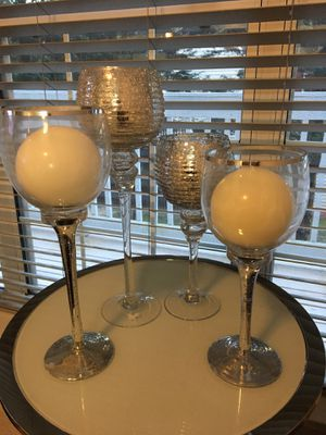 Four Glass and Silver Candle Holders for Sale in Woodbridge, VA