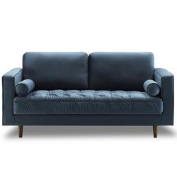 Bente Tufted Velvet Loveseat 2 Seater Sofa In 3 Color: Light Blue, Blue and Gray for Sale in Brooklyn,  NY