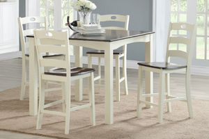 White 5 Piece Counter Height Dining Table Set for Sale in Riverside, CA