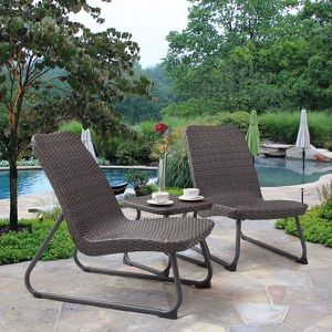 3 pcs outdoor rattan wicker furniture set 2 chairs and 1 coffee table swimming pool side backyard patio porch for Sale in New York, NY