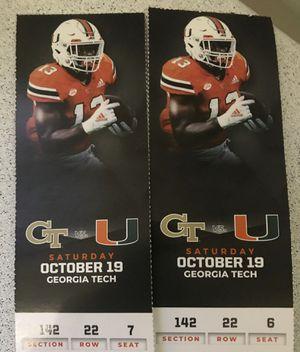 Tickets UM vs Georgia Tech !!! for Sale in Miami, FL