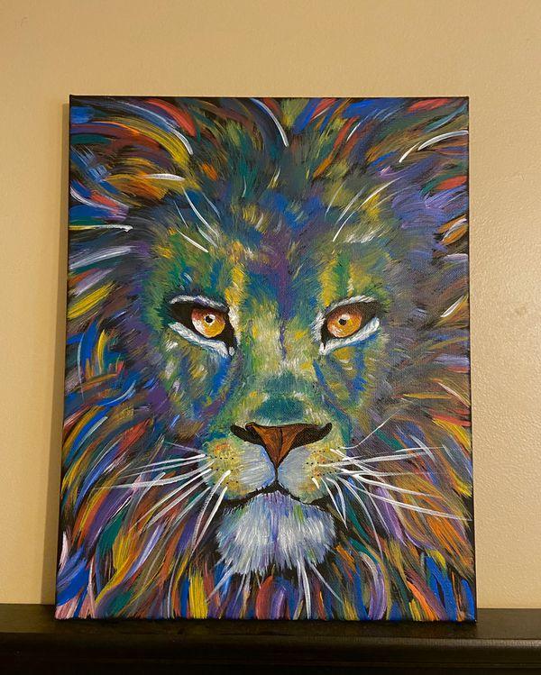 Vibrant Lion Canvas painting