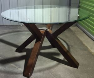 "ONLY $$$150$$$ DESIGN GLASS AND WOOD TABLE, GOOD CONDITION, (47"" DIAMETER, 30"" HIGH) $$$150$$$ for Sale in Los Angeles, CA"