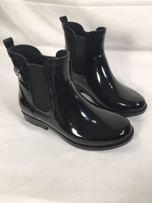 MK Michael Kors Black Rubber Rain/Snow Boots Ankle Boots Womens Sz 6 Silver MK Charm for Sale in Mount WASHING, OH