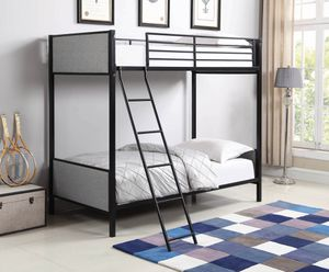 Capshaw Upholstered Twin Over Twin Bunk Bed Grey And Black for Sale in Atlanta, GA