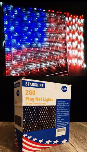 New in box 75 x 40 inches 260 led American USA flag net light 24 watts indoor or outdoor use for Sale in Los Angeles, CA