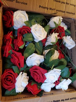 Soft Touch Artificial Roses Red & White for Sale in Columbus, OH
