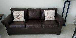 Sofa Couch Leather Ikea Like New Brown Ektorp for Sale in Boca Raton, FL