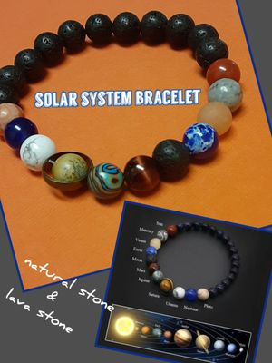 Solar system bracelet universe space planets natural stone and lava stone Christmas birthday gift for Sale in Pomona, CA