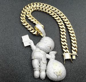 24K Gold Iced Out Money Bag Pendant / Chain for Sale in Nashville, TN